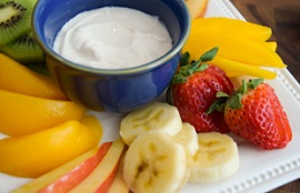 fruit with yogurt dip