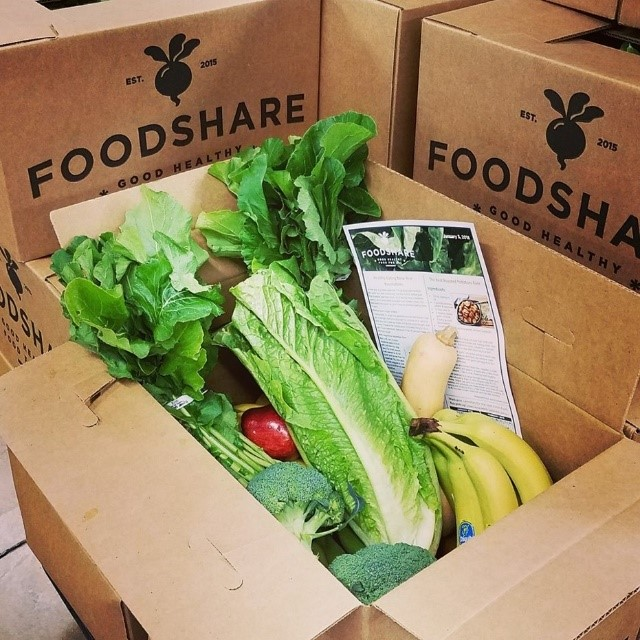 FoodShare boxes filled with fresh produce