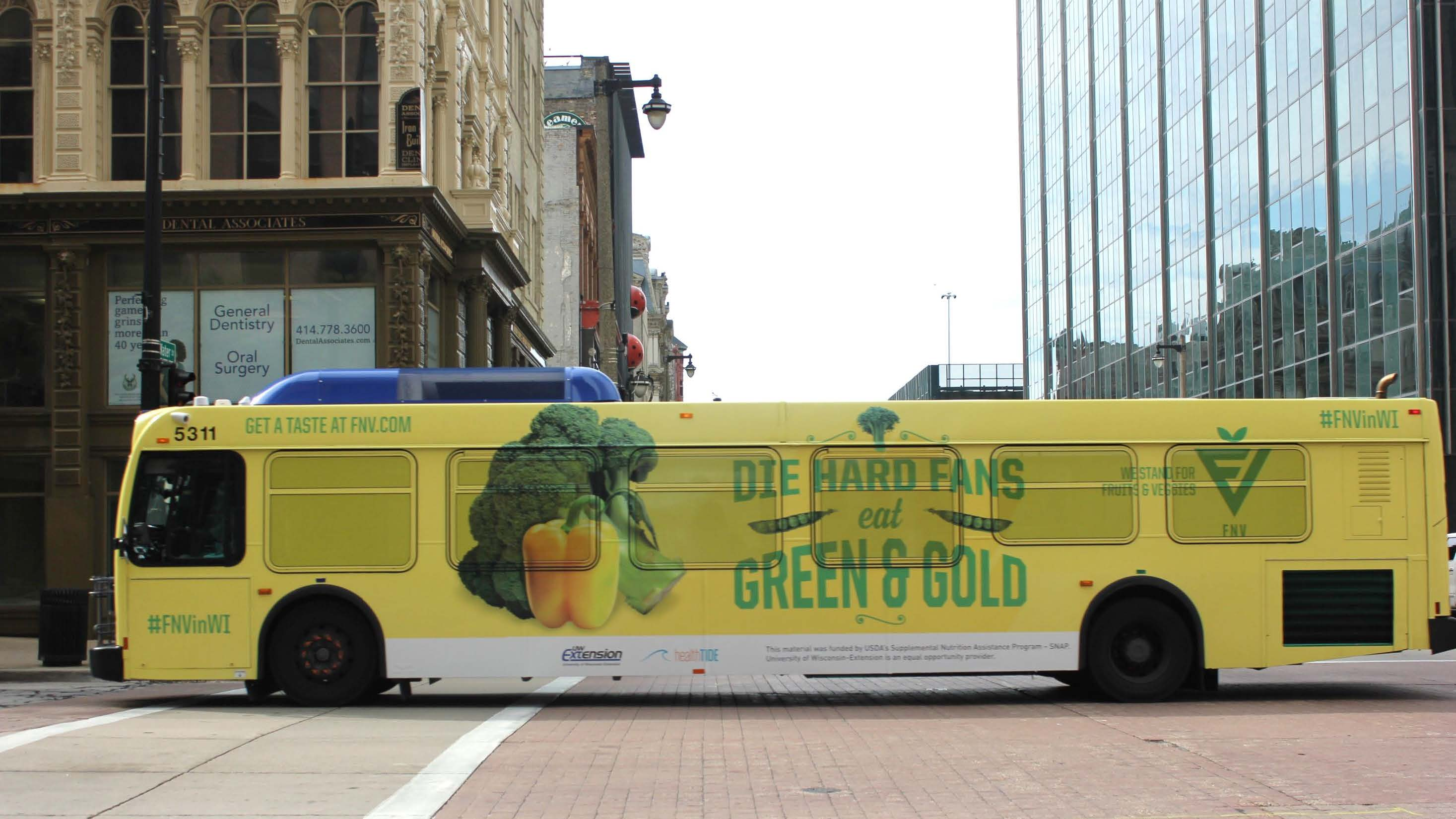 bus promoting broccoli and bell pepper
