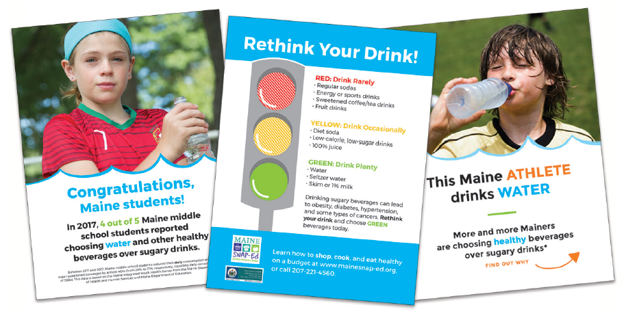 marketing materials showing kids drinking water