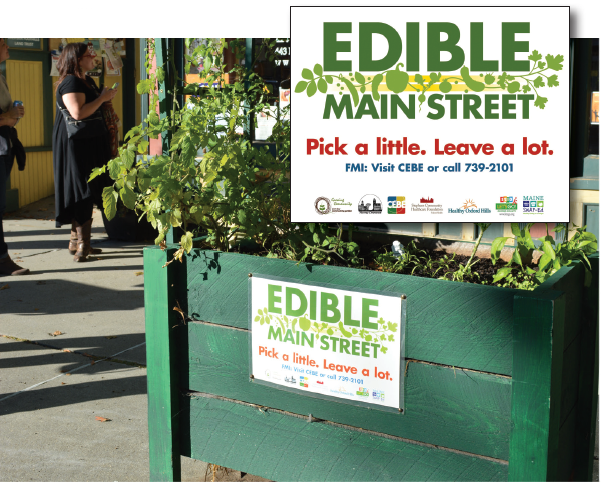 photo of Edible Main Street planter and logo.