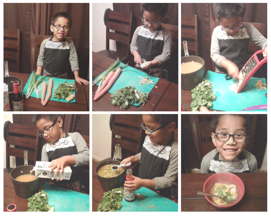 6 images of a child in various stages of preparing a recipe