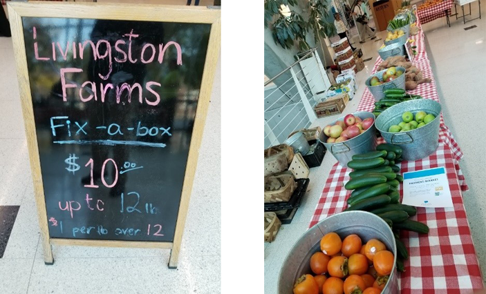 Image of a Farmers Market sign board and table full of produce.