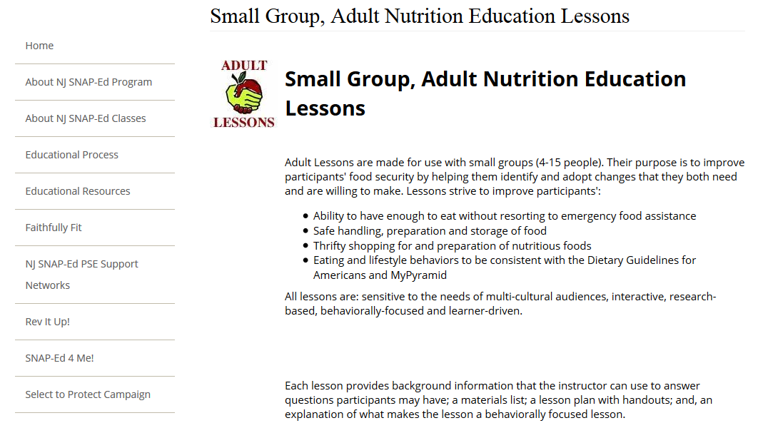 Small Group Adult Nutrition Lessons Snap Ed