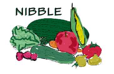 NIBBLE with cartoon fruits and vegetables