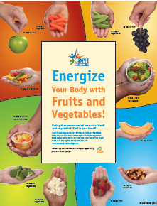 Energize your body with fruits and vegetables! servings sizes are show in the palm of a hand for fruits and vegetables