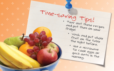 a list of time-saving tips and a bowl of fruit