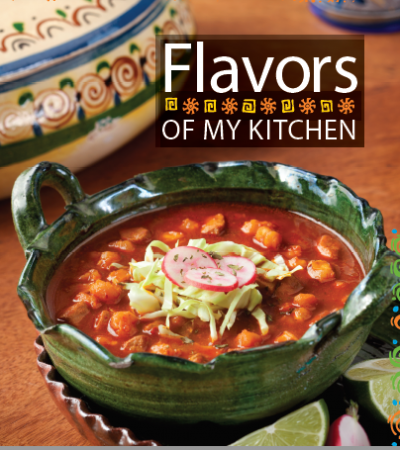 bowl of soup on the cover of the Flavors of my kitchen cookbook