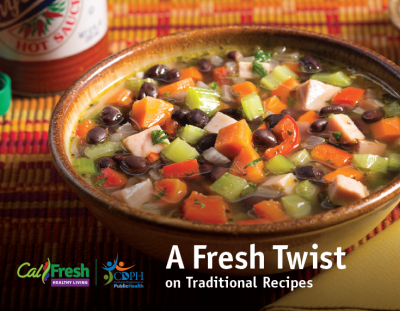Bowl of soup on the cover of A Fresh Twist on Traditional Recipes cookbook