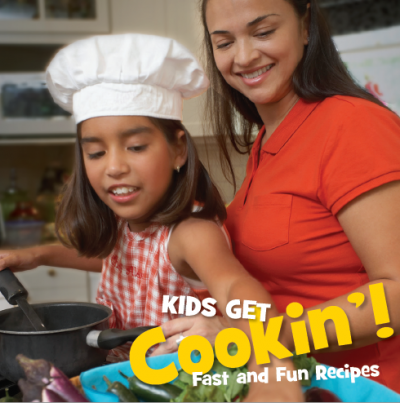 mom and her daughter cook on the cover of Kids get cookin'!