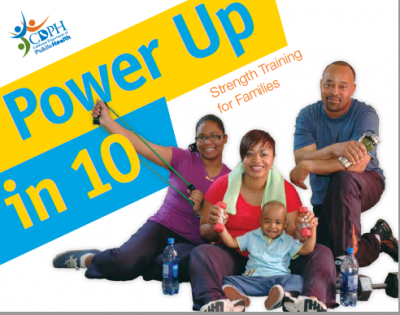 Power Up in 10 Strength training for families cover featuring a family smiling