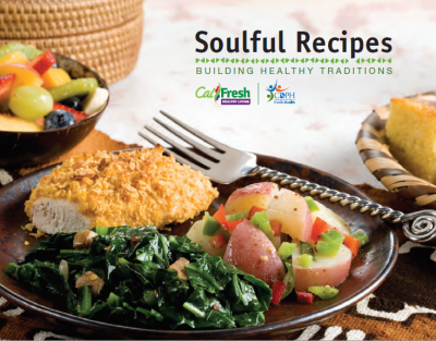 soulful recipes cover page featuring chicken, potatoes, and greens on a plate