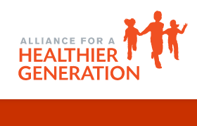 alliance for a healthier generation logo with drawings of people running