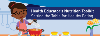 Cartoon image of a woman cooking - Health Educator's Nutrition Toolkit Setting the Table for Healthy Eating