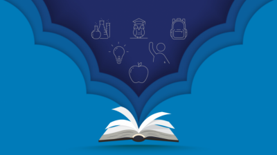 blue background with an open book with drawings of an apple, a lightbulb, a person, an owl, chemistry set