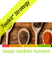 Simply censible nutrition with wooden spoons filled with spices and Toolkit strategy banner