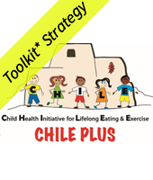drawings of children in front of a building with the letters C H I L E - Child Health Initiative for Lifelong Eating & Exercise