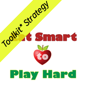 Eat Smart to Play Hard with an apple and the yellow toolkit strategy banner