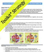 Yellow toolkit strategy banner across a sample lesson plan