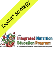 Yellow toolkit strategy banner over with Integrated Nutrition Education Program logo