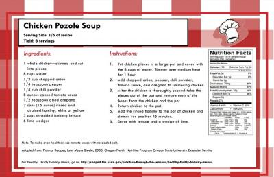 Recipe Card for Chicken Pozole Soup