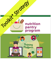 nutrition pantry program with a drawing of a grocery bag; training program surrounded by drawings of people and phone; Toolkit strategy yellow banner