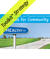 Toolbox for Community with a street sign that says healthy way with yellow Toolkit strategy banner