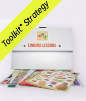 Linking lessons folder with a sample of handouts and a yellow toolkit strategy banner