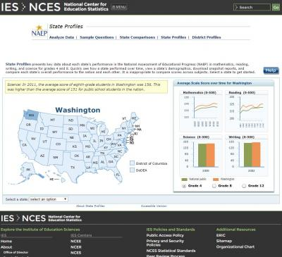 screenshot of NCES website