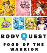 Image with the Body Quest characters above text Body Quest Food of the Warrior