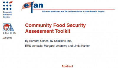 community food security assessment toolkit