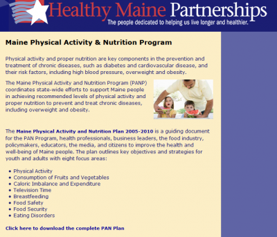 image describing Maine Physical Activity and Nutrition Program