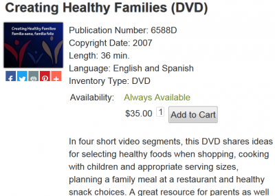 image of Creating Health Families DVD
