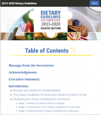 screenshot of the 2015 Dietary Guidelines for Americans