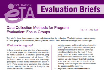 Data collection methods for program evaluation: Focus groups