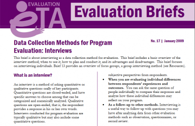 Data collection methods for program evaluation: Interviews