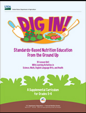 cover of Dig In! standards-based nutrition education from the ground up