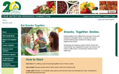 screen shot of Eat Together PA website