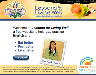 screenshot of Lessons for Living Well website