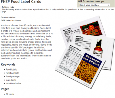 nutrition labels with pictures of food