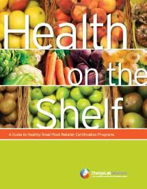 "Publication cover: collage of produce images with text ""Health on the shelf"""