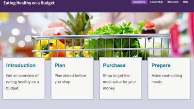 screen shot of webpage Eating Healthy on a Budget