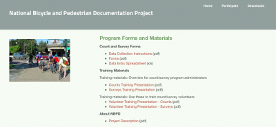 national bicycle and pedestrian documentation project website screenshot