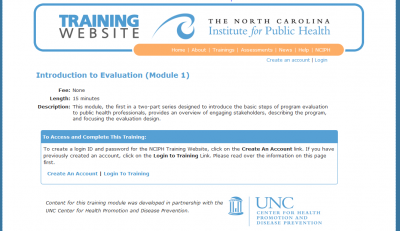 North Carolina Institute for Public Health: Introduction to Program Evaluation screen capture