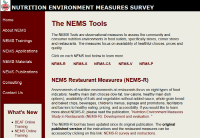 Nutrition Environment Measure Survey - Restaurant screen shot of web page