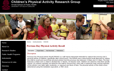 Previous Day Physical Activity Recall