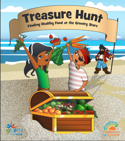 two cartoon kids dressed as pirates with a treasure chest of fruits and vegetables