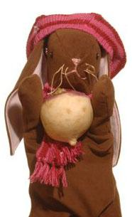 Photo of the Willow rabbit character puppet