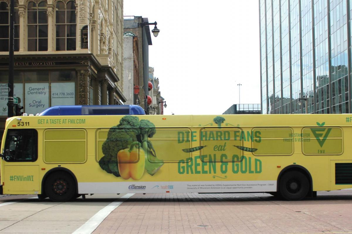 buss wrap promoting broccoli and bell pepper