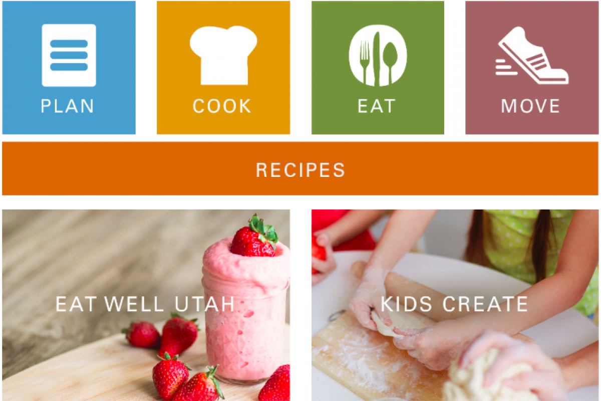 screen shot of Utah's Create web page; plan, cook, eat, move